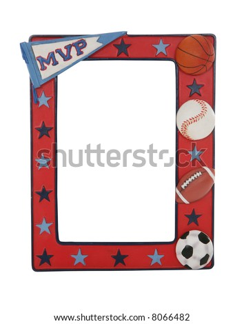 A sports picture frame with baseball, football, basketball, and soccer ball - stock photo