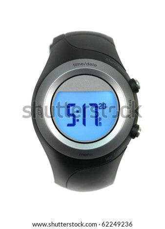 A sports watch isolated against a white background - stock photo