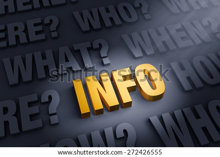"""A spotlight illuminates a bright, gold """"INFO"""" on a dark background filled with """"WHO"""", """"WHAT?"""", """"WHERE?"""", """"WHEN?"""", """"HOW?"""", and """"WHY?""""   - stock photo"""
