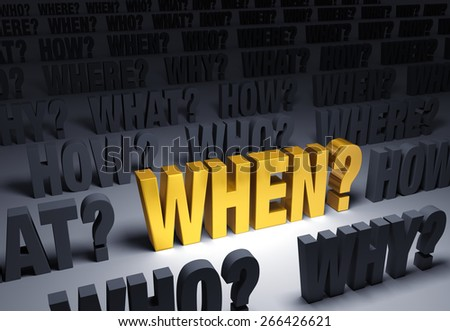 """A spotlight illuminates a bright, gold """"WHEN?"""" on a dark background filled with """"WHO?"""", """"WHERE?"""", """"WHAT?"""", """"HOW?"""", and """"WHY?""""  - stock photo"""