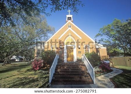 A spring day at the Brick Church in Southport North Carolina - stock photo
