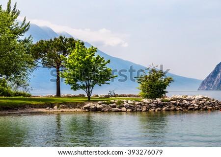 a spring morning at the Lake of Garda, Italy - stock photo
