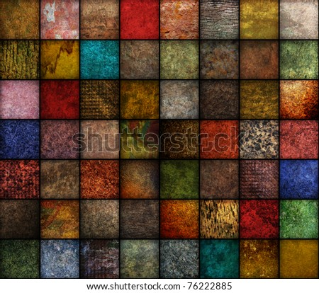 A square, earth tone background with may textures. - stock photo