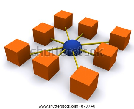 a square network depiction - stock photo