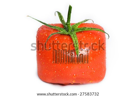 A square tomato isolated on white with water drops on it. The green stem is still attached. A generic (not real) bar code printed on the tomato. - stock photo