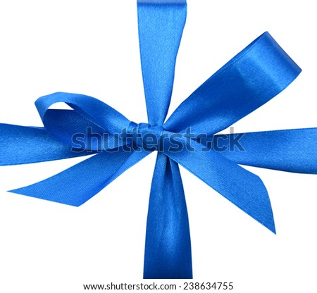 A square white gift with blue ribbon