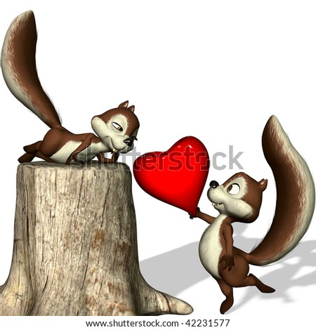 A  squirrel gives her its heart. - stock photo
