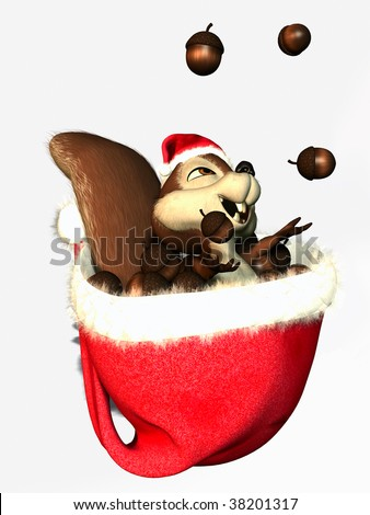 a squirrel in a christmas hat juggling acorns - stock photo