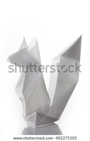 A squirrel origami made of white paper isolated on white background.