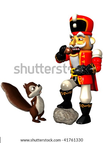 A squirrel watching a Nutcracker who eats a nut - stock photo