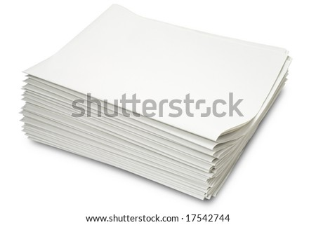 a stack of blank newspapers on white - with clipping path - stock photo