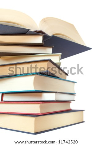 a stack of books isolated over white - stock photo