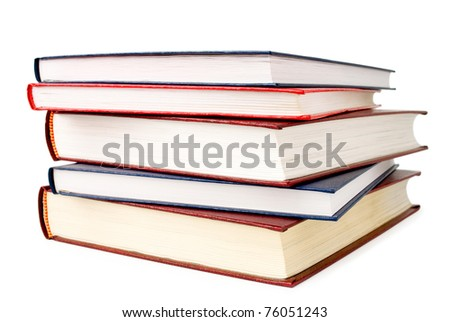 A stack of books on white background - stock photo