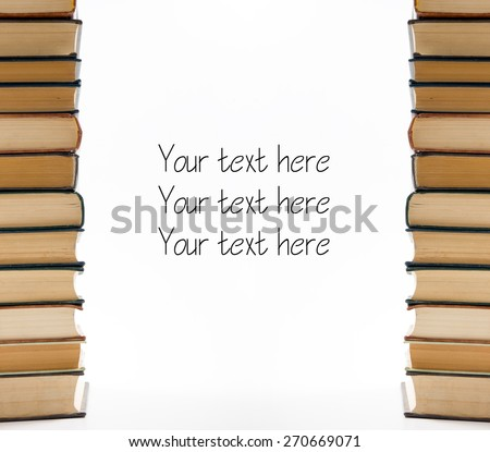 A stack of books on white background. Copy space for your text. Ideas for business and self-development. Study background. - stock photo