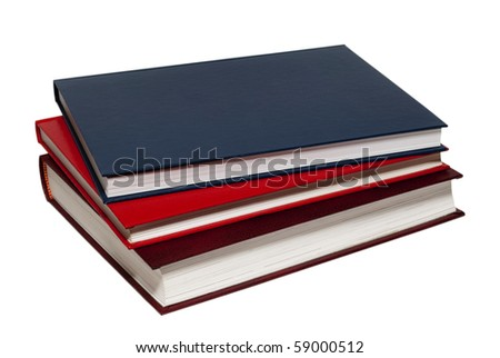 A stack of books on white background, isolated. - stock photo