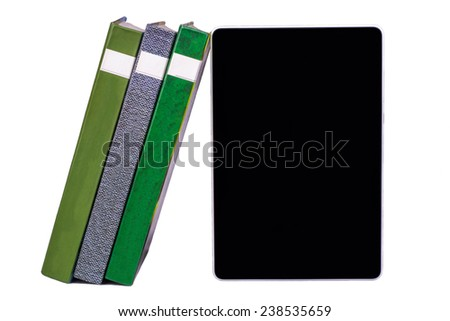 A stack of books with e-book stand on white background - stock photo