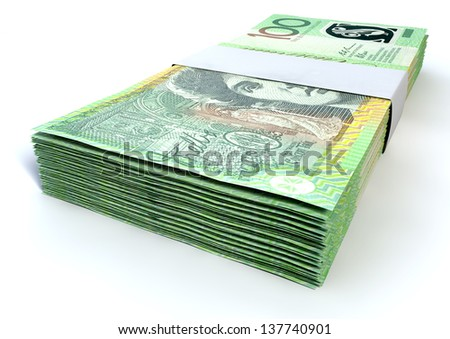 A stack of bundled one hundred australian dollar notes on an isolated background - stock photo