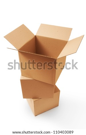 A stack of cardboard boxes - stock photo