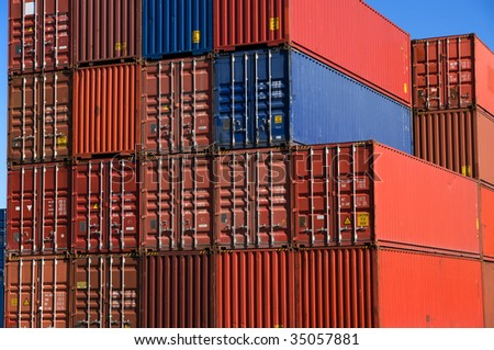 A stack of cargo containers - stock photo