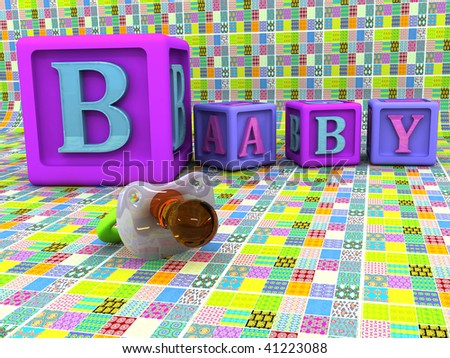 A stack of children alphabet blocks spelling the word baby and pacifier - stock photo