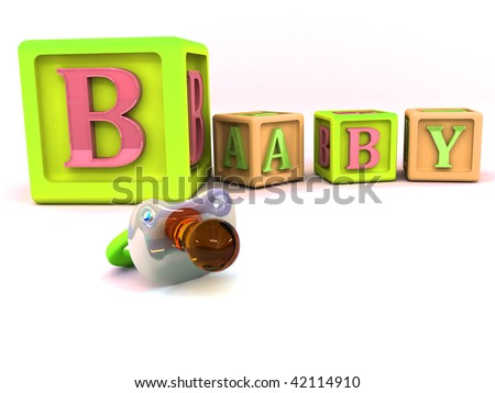 A stack of children alphabet blocks spelling the word baby and pacifier isolated on a white background - stock photo