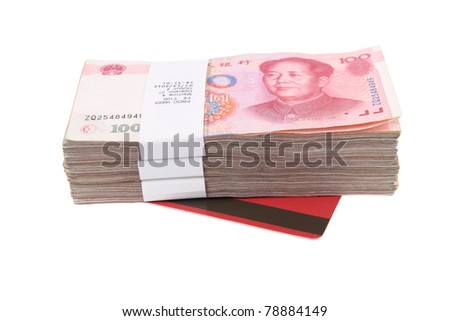 a stack of chinese money and deposit book with white background