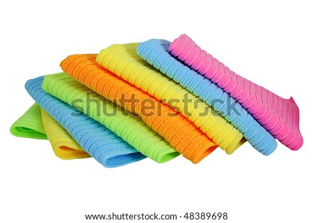 A stack of clean kitchen towels