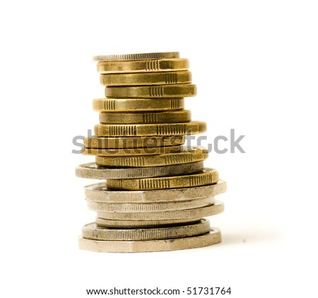 A stack of coins isolated on white