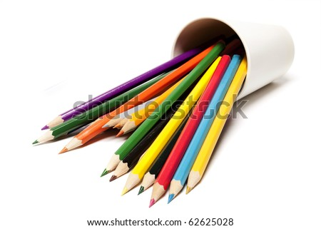 A stack of colored pencils on white background - stock photo