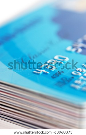 A stack of credit cards - stock photo