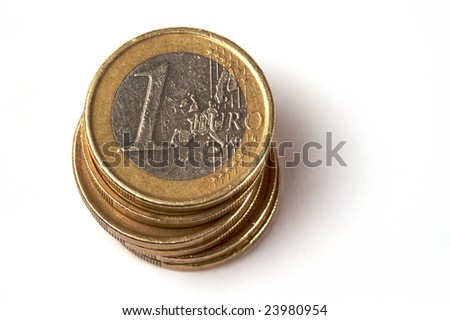 a stack of euro coins - stock photo