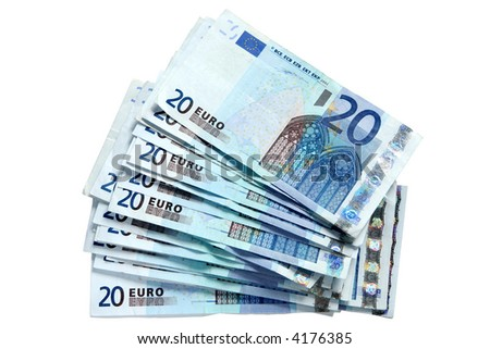 A stack of 20 Euro currency bank notes, isolated on a white background. - stock photo