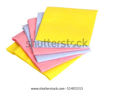 A stack of fabric napkins for household isolated on white - stock photo