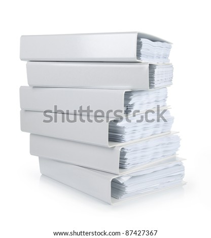 a stack of file binder on white background - stock photo