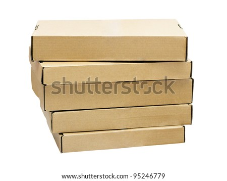 a stack of flat cardboard boxes isolated on white background - stock photo