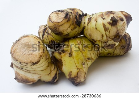 A stack of galangal root isolated against a white background - stock photo