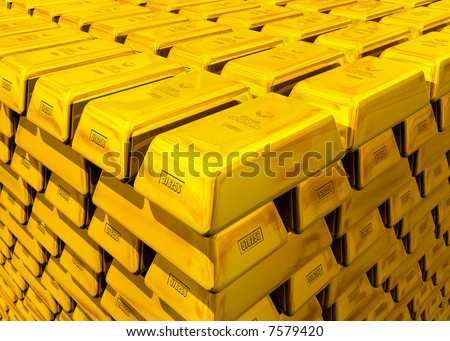 A stack of gold - stock photo