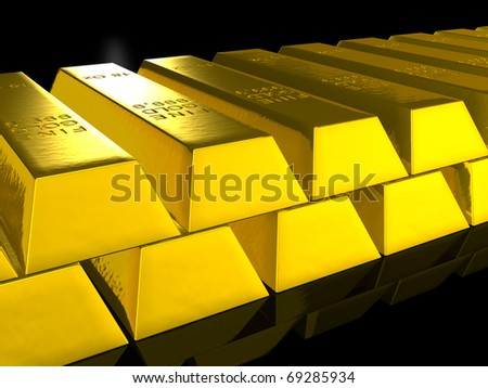 a stack of gold bars over black - stock photo