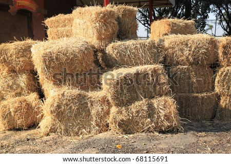 A stack of grass hay bales - stock photo