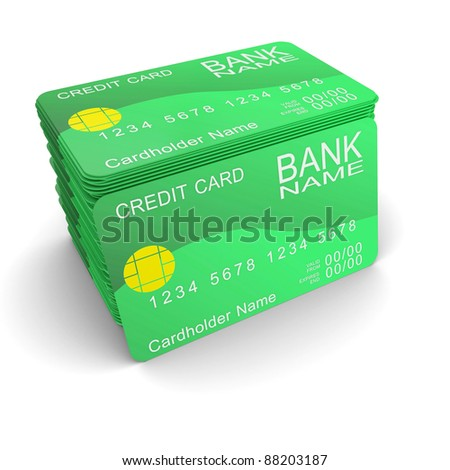 A stack of green credit cards - stock photo