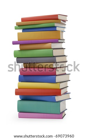 A stack of hardback books on white - stock photo