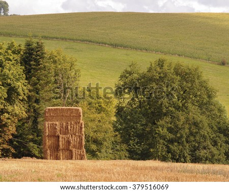 A Stack of Hay Bales in a Recently Harvested Field in the Rural Village of Eggesford in Devon, England, UK - stock photo