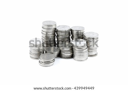 A stack of Malaysian coins.  - stock photo