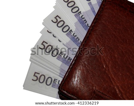 A stack of money 500 Euro purse closeup