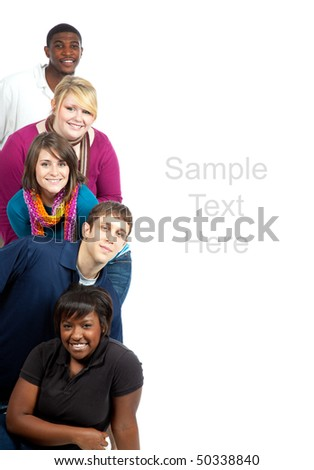 A stack of multi-racial friends, college students on a white background with copy space