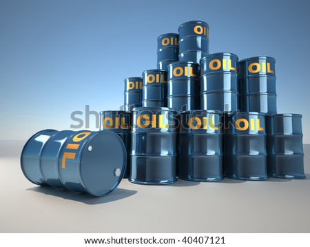 A stack of oil drum  - illustration rendered in 3d - stock photo