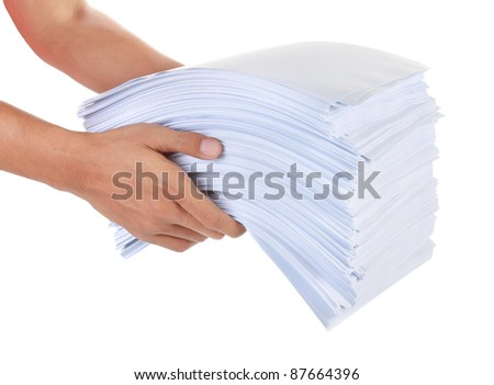a stack of paper in his hand isolated on white background