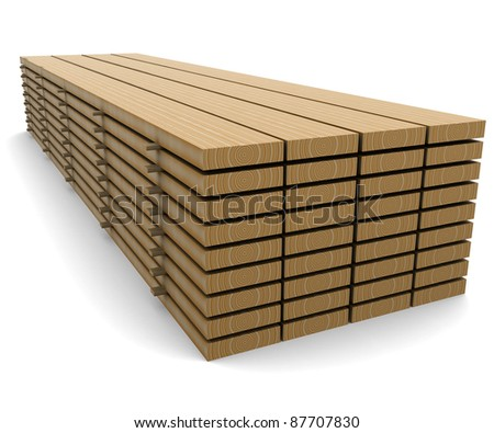 A stack of pine boards on a white background