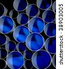 A stack of pipes in blue and black - stock photo