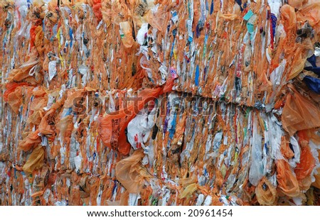 a stack of plastic bags for recycling - stock photo